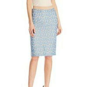 BCBG Bess blue lace zipper pencil skirt